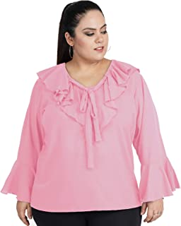 indietoga Women's Plus Size Western Top (Flared Ruffled Tops 2XL to 7XL)