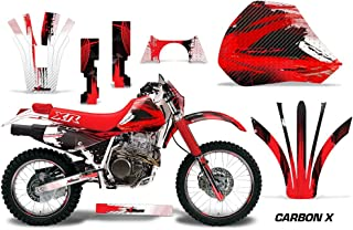 AMR Racing MX Dirt Bike Graphic Kit Sticker Decals with Number Plates Compatible with Honda XR400 1996-2004 - Carbon X Red