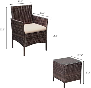 Greesum GS-3RCS8BG 3 Pieces Outdoor Patio Furniture, PE Rattan Wicker Chair Conversation Sets with Soft Cushion and Glass Cof