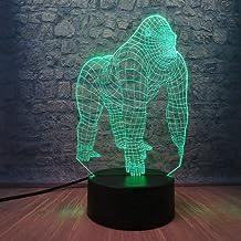 3D Night Light Active Animal Orangutan Gorilla Chimpanzee 3D USB LED Lamp Optical 7 Colors Changing Mood Illusion Table Ni...