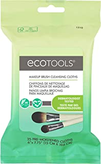 Ecotools Cruelty Free and Eco Friendly Makeup Brush Cleansing Cloths, 0.46 Ounce; Wash Away Surface Makeup, Oil, and Impurities from Brushes Improving Brush Performance