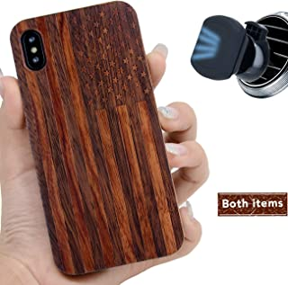iProductsUS Dark Wood Phone Case Compatible with iPhone XR with Magnetic Mount, Engrave American Flag, Compatible Wireless Charger, Built-in Metal Plate, TPU Shockproof Cover (6.1