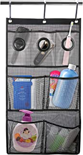 Foloda Quick Dry Hanging Mesh Shower Caddy Bath Organizer with 7 Pockets, Hang on Shower Curtain Rod/Liner Hooks/Door for Bathroom Accessories Organization,Space Saving,Black