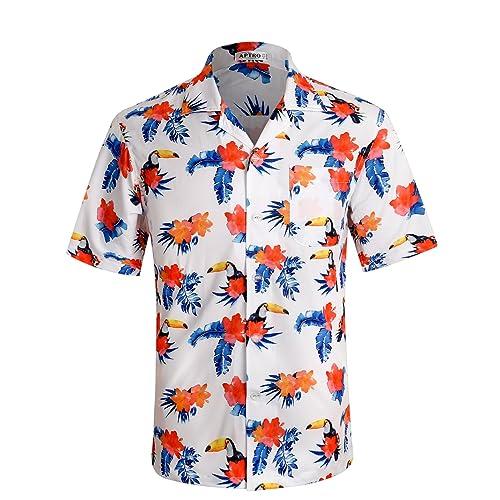 f340f7ab APTRO Men's Hawaiian Shirt Short Sleeve Beach Aloha Party Shirt