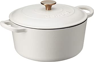 Carote Enamel Pot with Lid, 23cm, Macaroon White