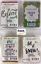 4 Pack Candle Wax Melt Set Holiday Scented Fragrances 2.5 oz Tart Packs Bundle Fraser Fir, Holiday Hearth, Cinnamon Pinecones, White Christmas