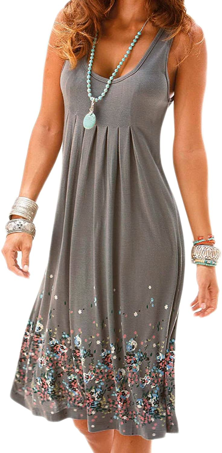 AELSON Max 76% OFF Womens Summer NEW Casual Sleeveless Mini Dresses Vest Printed