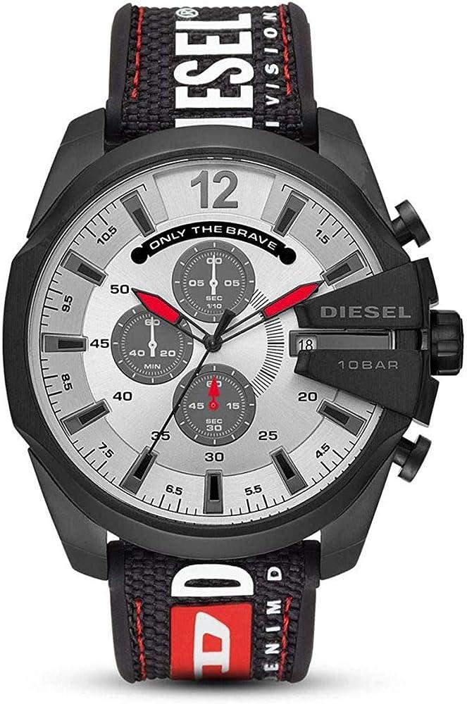 Diesel orologio,cronografo per uomo,cassa in acciaio inossidabile con trattamento ip nero,cinturino in nylon DZ4512