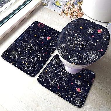 Alfombrilla De Baño Antideslizante Juego De Alfombras De 3 Piezas Constellation Star Clusters Alfombra De Baño De Galaxias+Fu