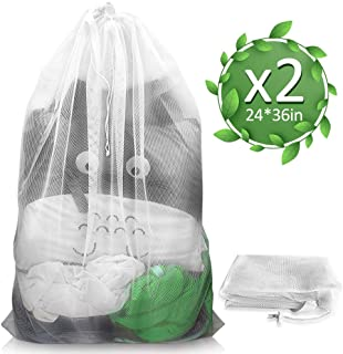 ALLYAOFA Mesh Laundry Bag, Made of Sturdy Polyester Fibre with Drawstring Closure Large Size 24 * 36 Inch for Clothes, Bra...