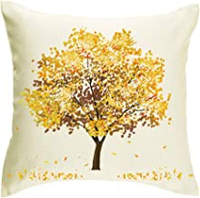 Jimrou Square Throw Pillow Cover 18x18 inches Festival Gifts Best Wish Happy Fall Y'all Yellow Fall Trees Maple Fall Leave...