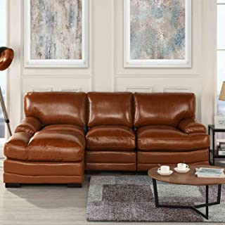 Brown Leather Sectional Sofa Couch with Chaise, Modern Brown L-Shape Wide Chaise Top Grain Leather Sectional Couch Sofa, Lounger Home Furniture Sectionals, Sofas & Couches for Living/Theater Room Sofa