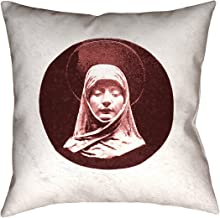 "ArtVerse Katelyn Smith Vintage Prayer Woman 20"" x 20"" (غطاء وسادة فقط) وسادة-كتان صناعي (نسيج حديث) طباعة على الوجهين بسحاب مخفي"