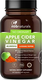 NOB Naturals No Ordinary Apple Cider Vinegar 40,000 SHU Cayenne Pepper | Support Natural Cleanse, Detox and Boost Immune Defense | Premium Dietary Supplement - 60 Capsules