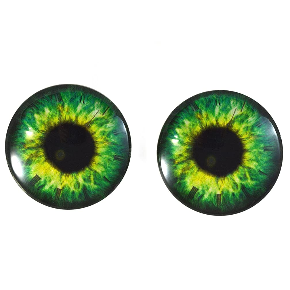 40mm Pair of Bright Green Steampunk Clock Glass Eyes, for Jewelry Making, Dolls, Sculptures, More