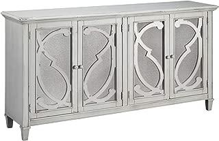 Ashley Furniture Signature Design - Mirimyn 4-Door Accent Cabinet - Distressed Gray Finish - Mirrored Scrolled Filigree Doors