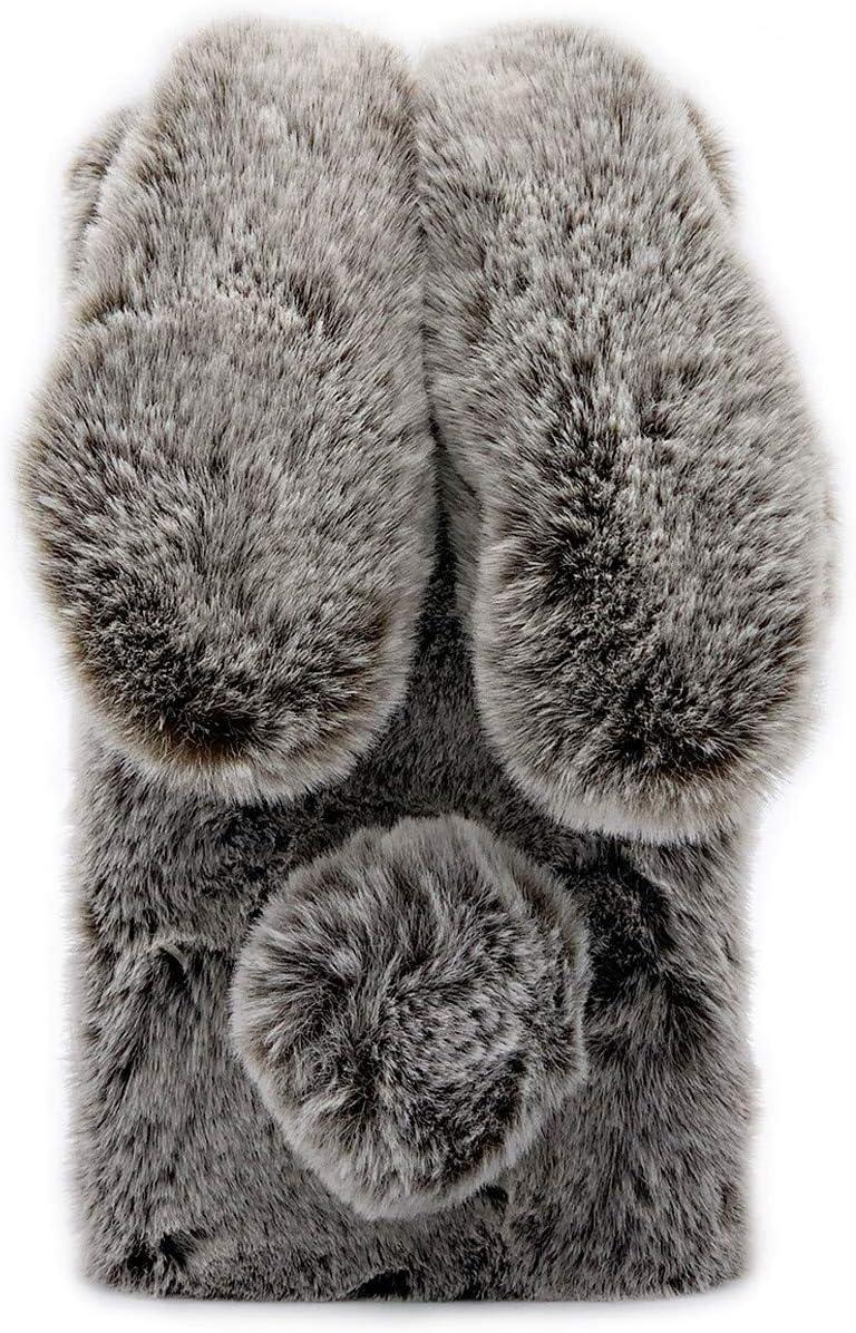 Omio for Samsung Galaxy Note 10 Plus Rabbit Case Soft Fur Handmade Fluffy Furry Cute Bunny Plush Case Warm Big Ear Bling Crystal Rhinestone Bowknot Ultra Light Case for Galaxy Note 10+/Note 10+ 5G