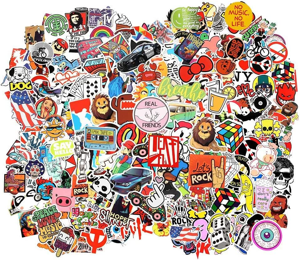 Cool Random Stickers 55-700pcs FNGEEN Laptop Stickers Bomb Vinyl Waterproof Stickers Variety Pack for Luggage Computer Skateboard Car Motorcycle Decal for Teens Adults (105 PCS)