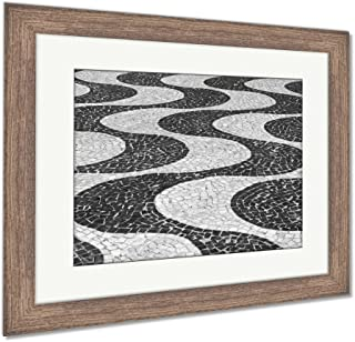 Ashley Framed Prints Sidewalk of Rio De Janeiro, Wall Art Home Decoration, Black/White, 26x30 (Frame Size), Rustic Barn Wood Frame, AG5984194