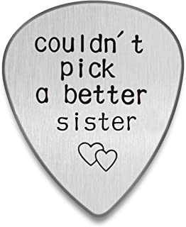 Personalized Guitar pick I couldn't pick a better man Custom Plectrum Engraved Guitar Pick Gift for Music lover Stainless Steel Custom Tag (Sister, Silver)