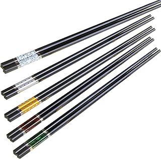 ZITFRI Palillos chinos 5 pares de multimaterial higiénicos antideslizantes resistentes al calor de 180°C - 24,3 cm