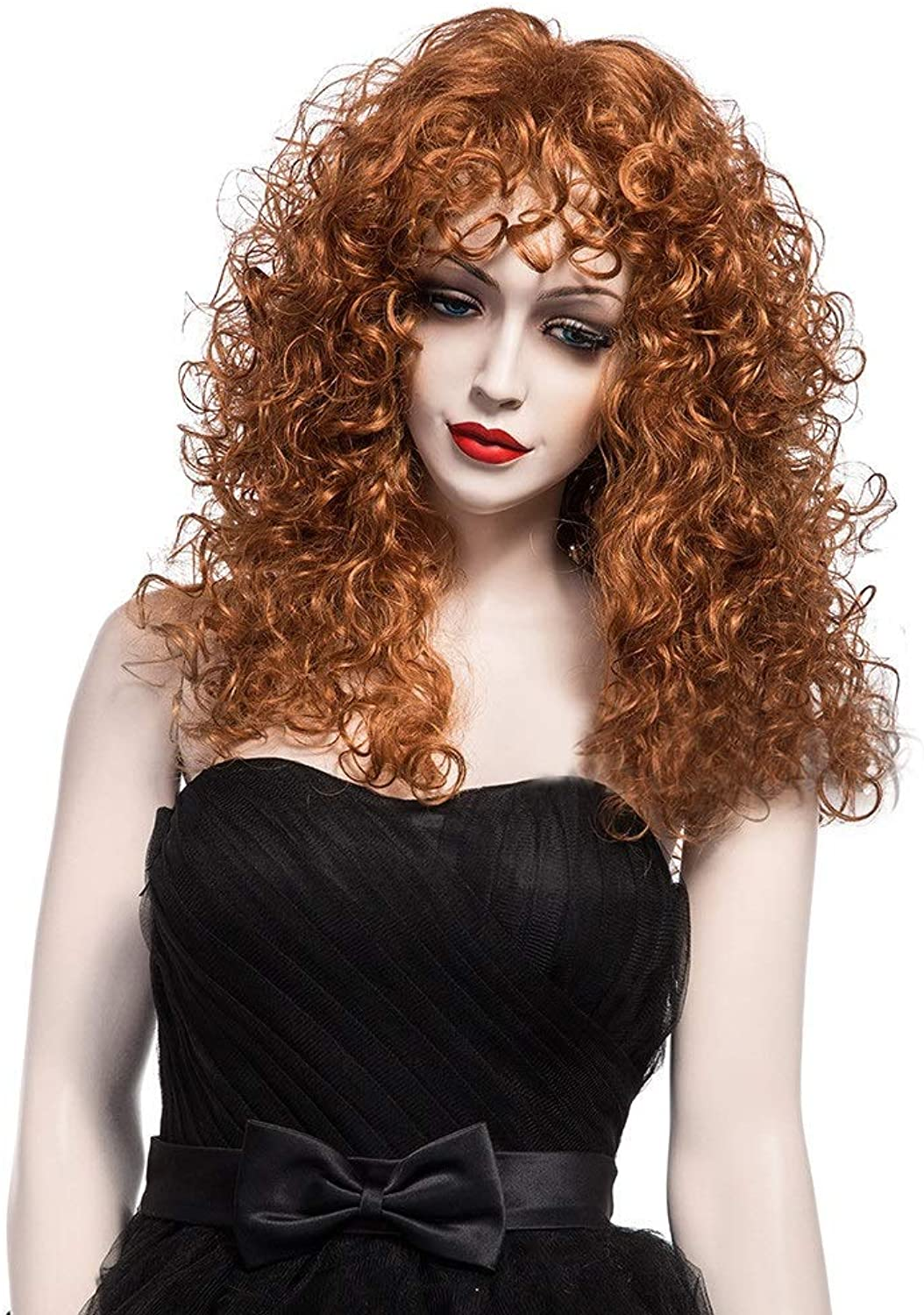 JKL European and American wig small volume fluffy female curly brown long roll foaming face explosion head imported natural realistic female wig