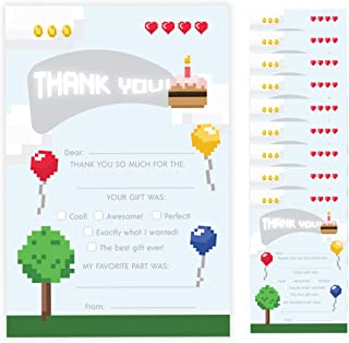 Pixel Thank You Cards (10 Count) With Envelopes Bulk Birthday Party Bridal Blank Graduation Kids Children Boy Girl Baby Shower (10ct. Fill-In Thank You)