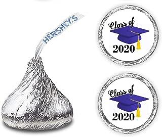 216 Graduation Party Cap Class of 2020 Favor Kisses Stickers Labels (Blue)