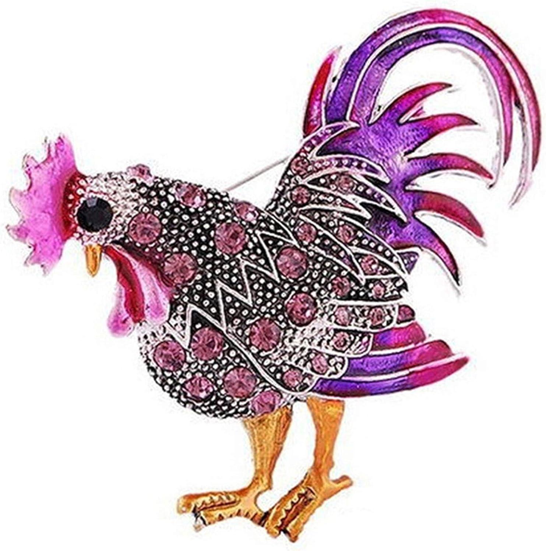 Oklahoma City Mall LKEEP Max 43% OFF Crystal Chicken Rooster Brooch Anim Lovely Pin Rhinestones