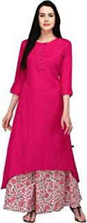 Pistaa's Women's Viscose Pink High Low Kurta With Printed Palazzo set