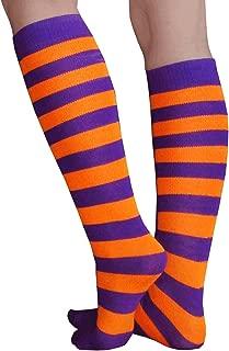 orange and purple striped socks