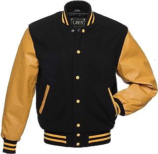 GREY Varsity Jacket for Baseball Jacket 100% Wool & 100% Genuion Leather Men's Stylish & Fashionable