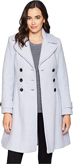 Double Breasted Button Boucle Wool Coat