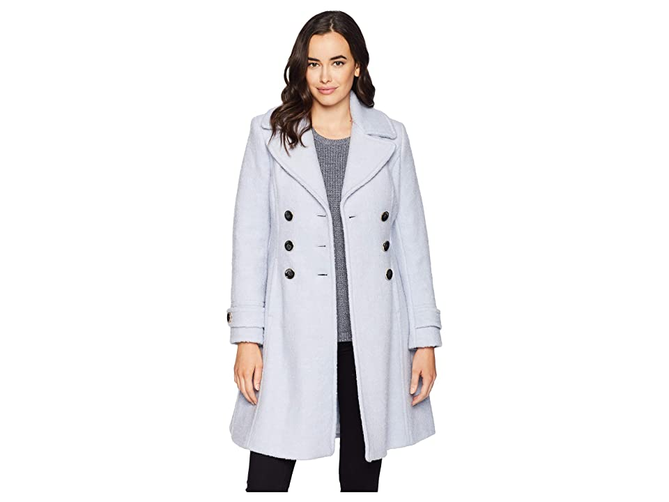 Ivanka Trump Double Breasted Button Boucle Wool Coat (Sky) Women