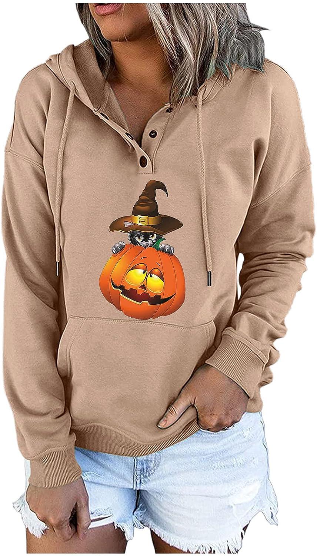 Women's Halloween Ranking TOP14 Hoodies Funny Drawstring Button Cheap Pumpkin Down