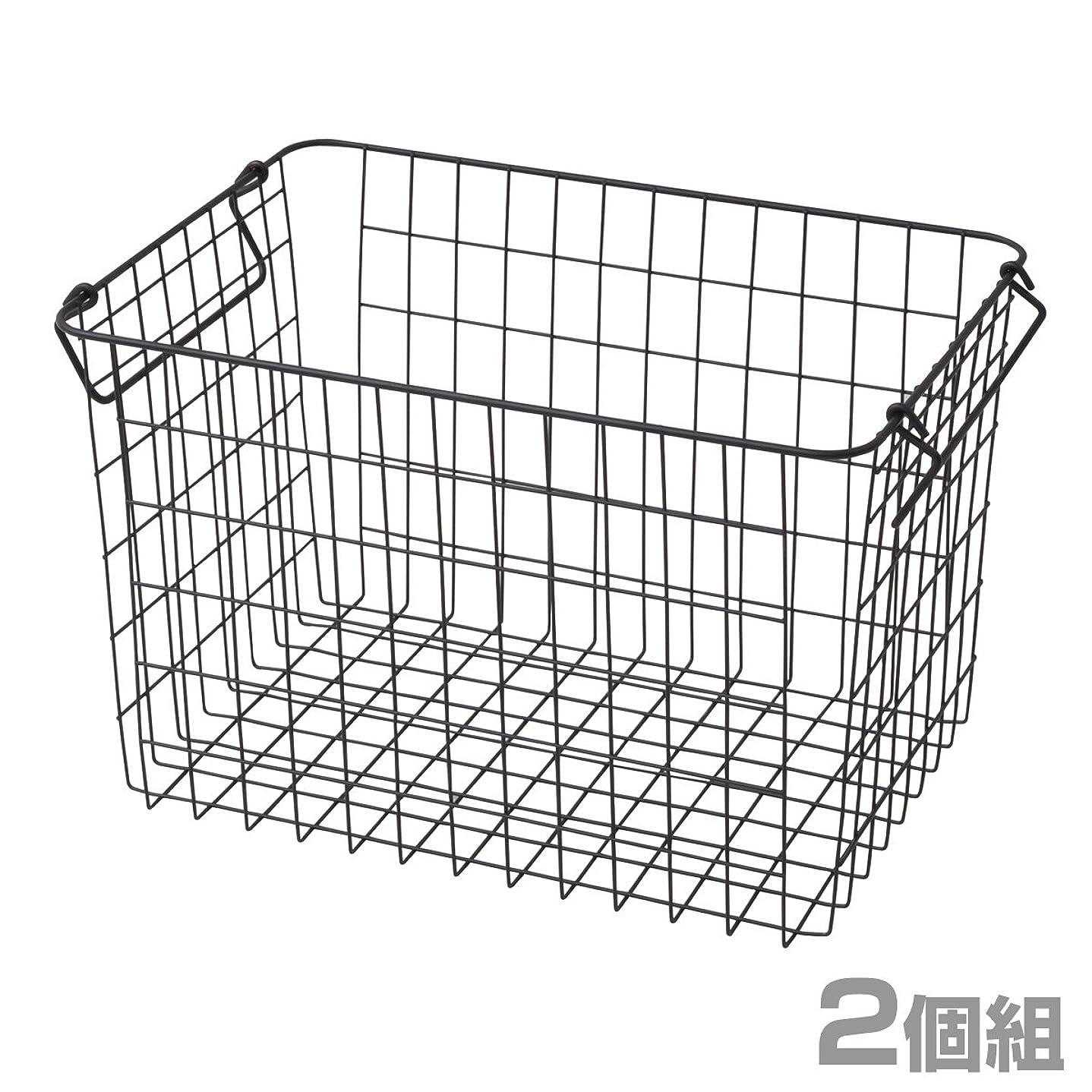 謙虚な繁殖ニュース山善(YAMAZEN) ワイヤーバスケット ふつうタイプ(幅37 高さ24cm) 2個組 ブラック RWB-322(BK)*2