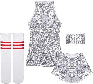 Kids Girls Sparkle Hip Hop Costume Street Dance Mini Dress Sequins Jazz Dance Skirt