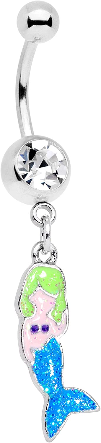 Body Candy 14G 316L Stainless Steel Navel Ring Piercing Mermaid Dangle Belly Button Ring 11mm