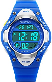 BesWLZ Sports Kids Wristwatch LED Digital Alarm Stopwatch Waterproof Children's Dress Watches for Child Boys Girls Blue