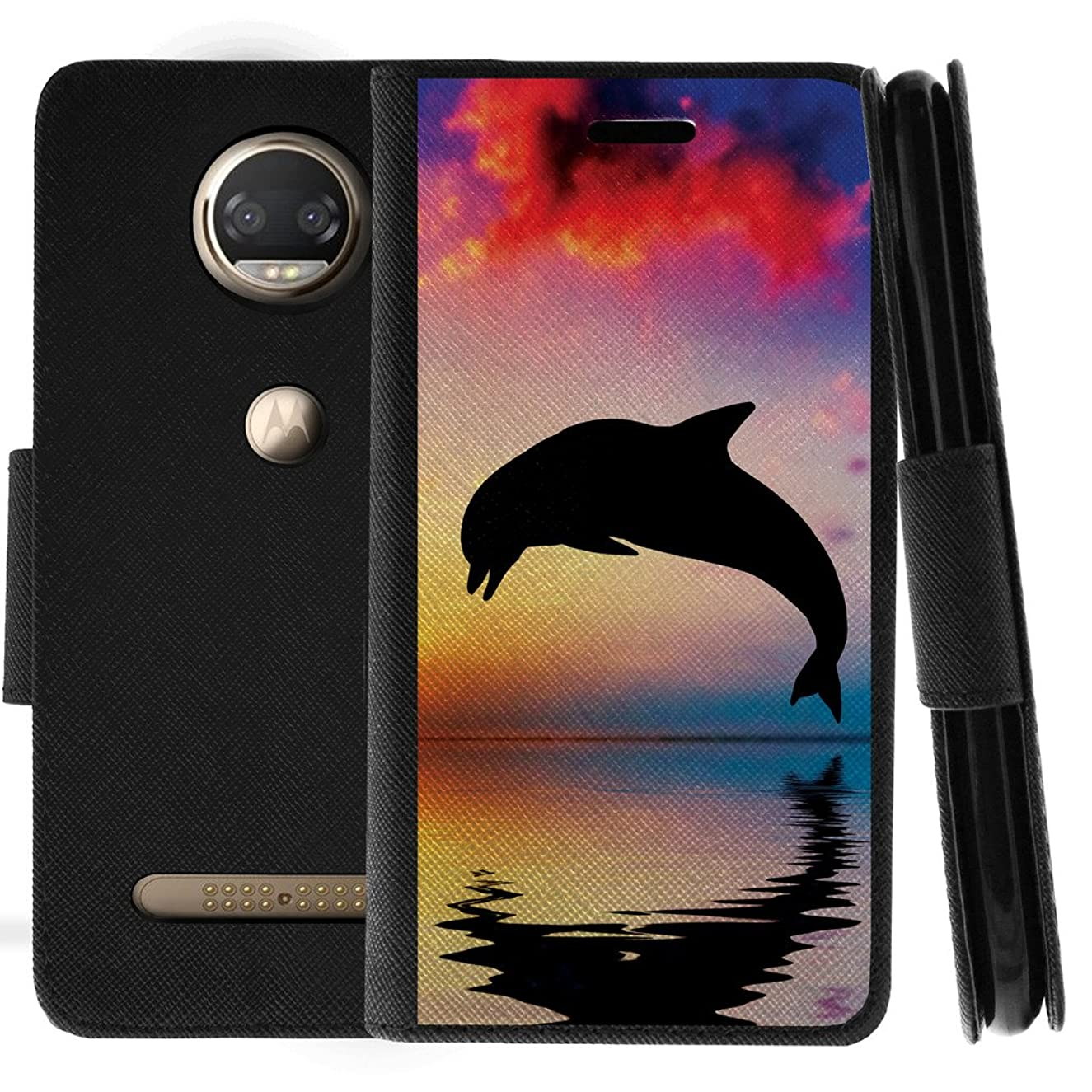 TurtleArmor | Motorola Moto Z2 Force Case | Moto Z2 Play Case | Flip Kickstand Leather Wallet Case Cover with Card Slots Sea Ocean Design - Dolphin Jump