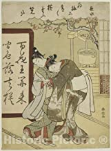 Historic Pictoric Print : Poem by Chosui, from The Series Five Fashionable Colors of Ink (Furyu goshiki-zumi), Suzuki Harunobu, c 1767, Vintage Wall Decor : 36in x 48in