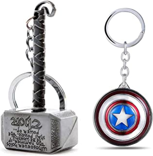 Ensure Sales Marvel Avengers Thor Captain America Silver and Golden Key Chains and Key Rings Combo (Pack of 2)