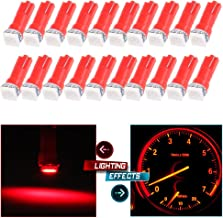 cciyu 20 Pack T5 Red 58 70 73 74 Dashboard Gauge 1-SMD 5050 LED Wedge Lamp Bulbs Lights Replacement fit for Dashboard instrument Panel Light Bulbs LED Lamps