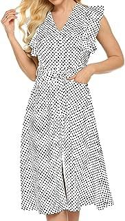 Womens Cute Dresses Polka Dot Swing Midi Dress with Pockets