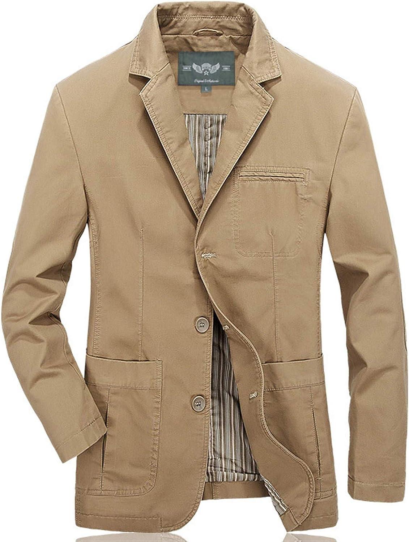Soluo Men's Casual Three-Button Stripe Lined Cotton Twill Suit Jacket Blazer Outerwear (Khaki,5X-Large)