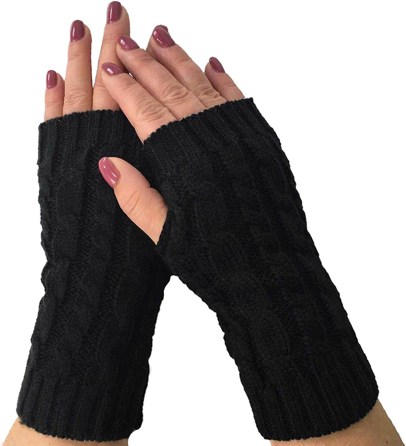 Fashion Culture Women's Cable Knit Fingerless Texting Gloves, Black
