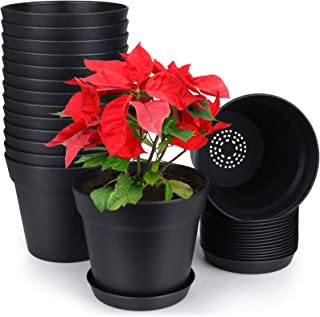HOMENOTE Pots for Plants, 15 Pack 6 inch Plastic Planters with Multiple Drainage Holes and Tray - Plant Pots for All Home ...