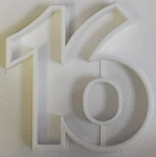 NUMBER 16 SIXTEEN SWEET HOLIDAY EVENT SPECIAL OCCASION COOKIE CUTTER BAKING TOOL 3D PRINTED MADE IN USA PR108-16