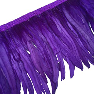 Sowder Rooster Hackle Feather Fringe Trim 10-12inch in Width Pack of 1 Yard(Purple)