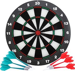 Safety Dart Board Set for Kids and Adults,16 Inch Soft Rubber Dart Board Game with 6 Darts for Outdoor/Indoor Family and O...